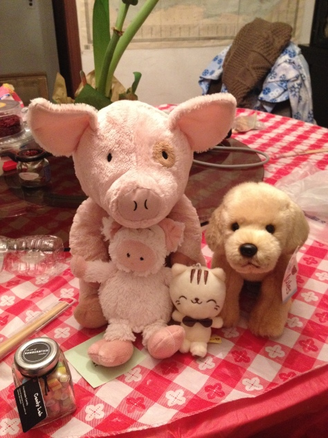 New family portrait! Squigley (big pig), Pigpig (small pig), Lucy (the dog), and Charlie/Brie/Mozzarella/Parmesan (the cat)